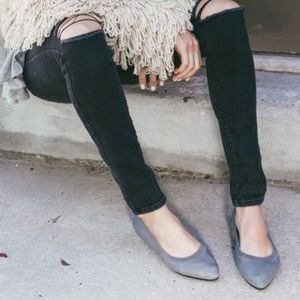 YOSI SAMRA Vienna Grey Leather Pointed Toe Flats